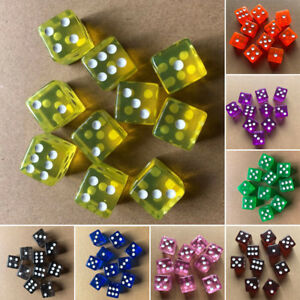 10-Pcs-Six-Sided-D6-Transparent-16mm-FOR-RPG-DICE-Square-Cube-Dice-Round-Corner