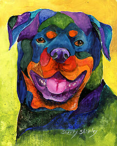 ROTTWEILER-8X10-DOG-Colorful-Print-from-Artist-Sherry-Shipley