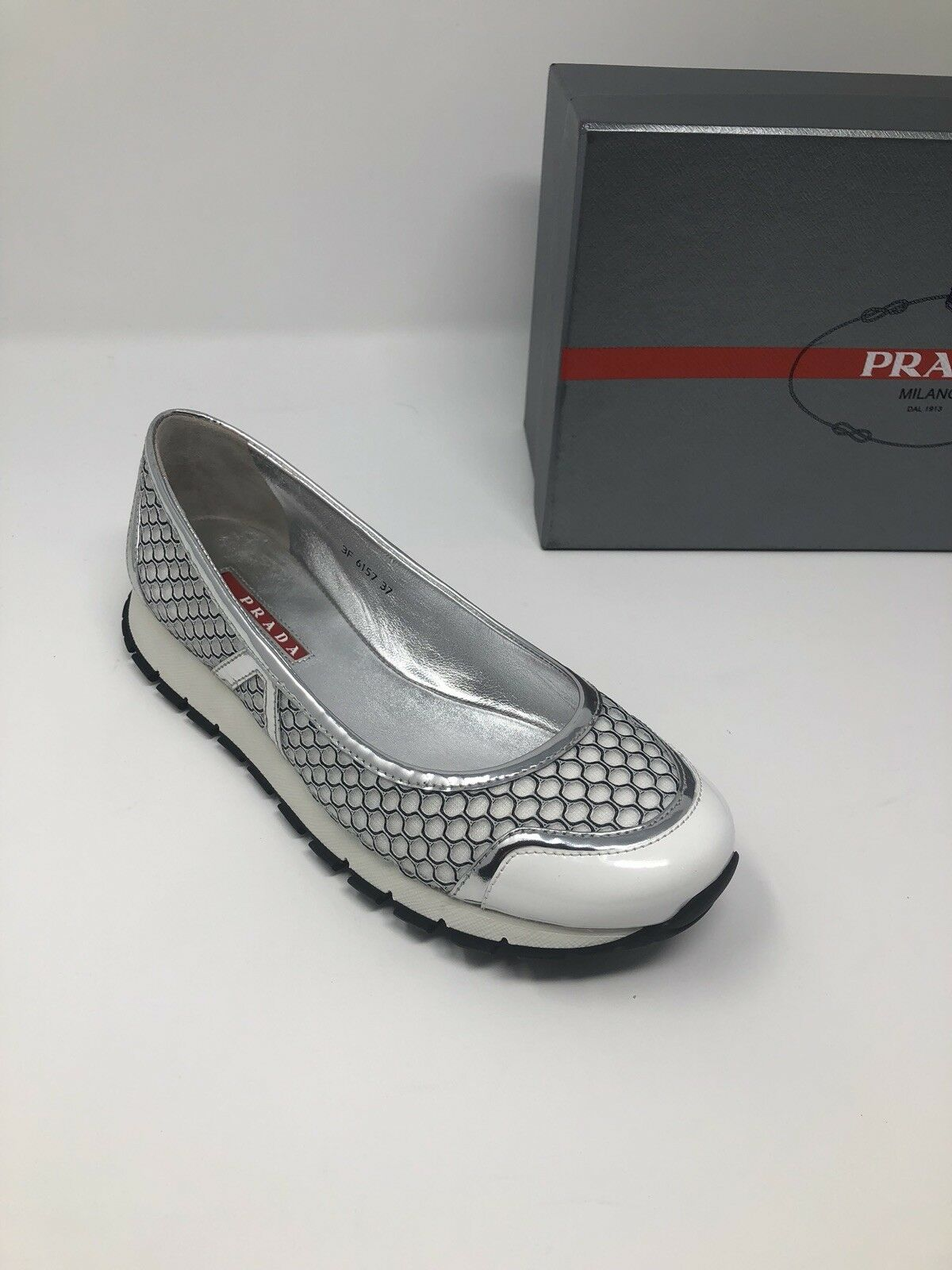 750 New PRADA Womens shoes Ladies White Silver Sneakers Size 6 US 36 EU