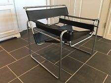 Vintage Mid Century Modern Breuer Knoll Wassily Style Leather Chair circa 1970's
