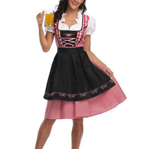 Womens-German-Dirndl-Dress-Bavarian-Waitress-Costumes-For-Oktoberfest-Festival