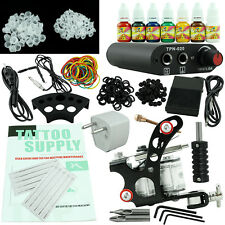 Beginner Tattoo Kit Gun Power Supply 7 Ink Set One Machine Equipment_TA001