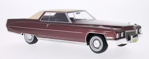 Bos 1972 Cadillac Coupe De Ville Oscuro rosso Metálico le 1000 1 18 POCO COMÚN   Ultima