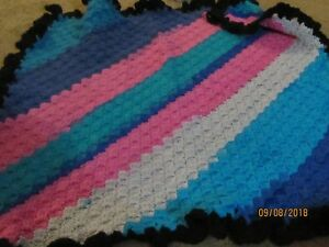 Details about NEW HANDMADE HANDCRAFTED CROCHET AFGHAN/BLANKET/THROW  PINK/BLUE/AQUA/GRAY/BLACK