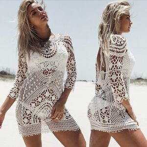 Summer-Women-Sexy-Lace-Crochet-Bikini-Swimwear-Cover-Up-Beach-Dress-Bathing-Suit