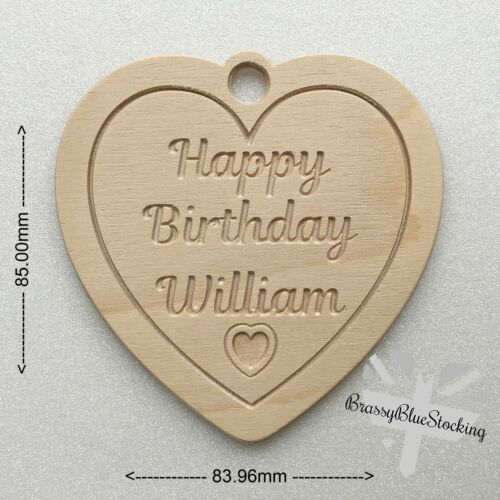 **HEARTS** Carved Wooden Craft Shape Personalised Happy Birthday Heart.