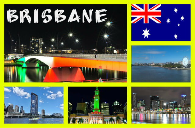 Brisbane, Australia - Recuerdo Original Imán de Nevera - Monumentos/Banderas