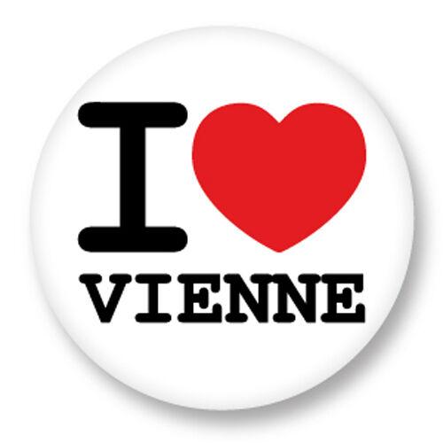 Magnet Aimant Frigo Ø38mm I Love Heart Coeur J'aime Vienne Autriche