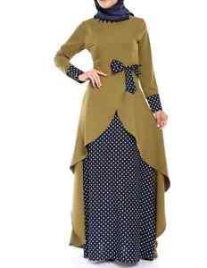New-Green-black-POLKA-DOT-long-sleeve-MAXI-Tunic-DRESS-ABAYA-KAFTAN-sz-L-16