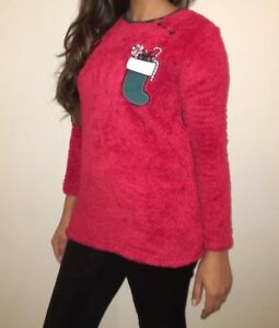 BRAND-NEW-Size-8-Red-Fluffy-Soft-Touch-Christmas-Jumper-with-Stocking-Applique