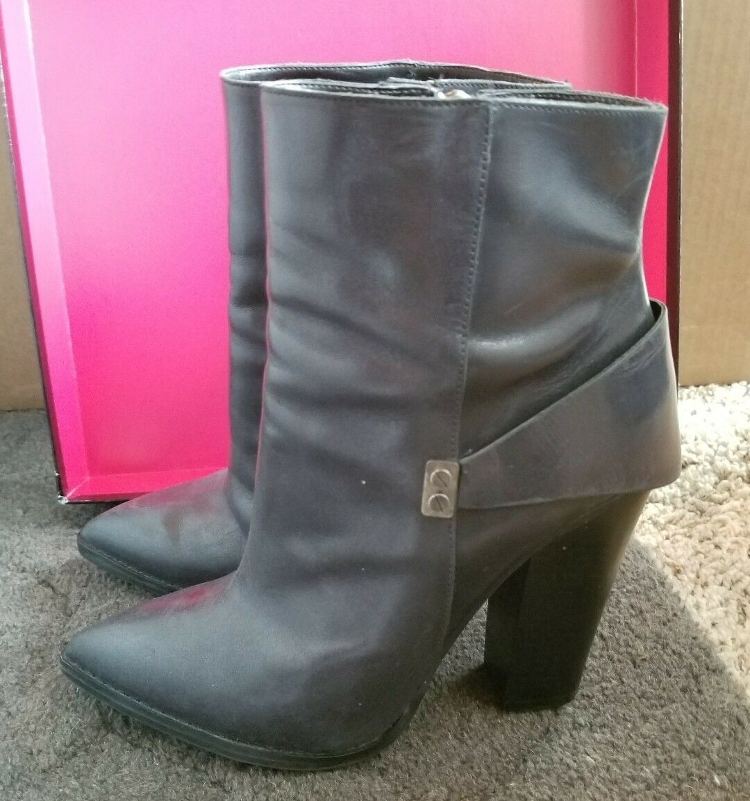NINE WEST 9W INSTYLE Black Leather Comete Ankle Boots Booties WOMENS SZ 7.5 EUC