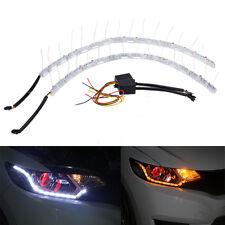 2x 8LED Switchback LED Lampe Flexible Strip DRL Tagfahrlicht Leuchte Weiß+Amber
