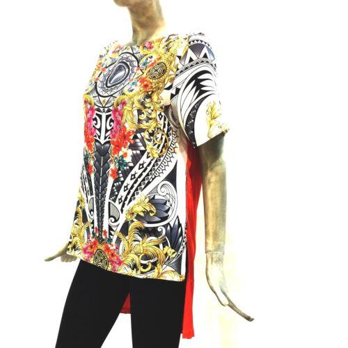 Donna Arancione Tunica 33455 Shirt Lunga Maglia Fantasia Collection Versace I4qftW