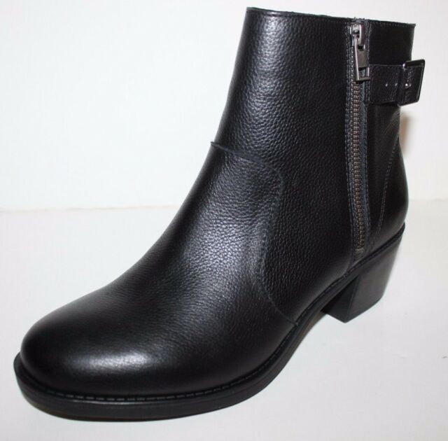 GH Bass NIB Womens 8.5 M Alice Black Leather Ankle Boots Booties w/ Buckle Trim