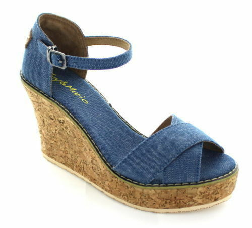 Joy & Mario Women's Denim Blue Mari Wedges Slip-On Block High Heels Canvas Women