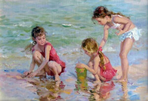 ZWPT505-hand-painted-three-little-girl-playing-seaside-art-oil-painting-canvas