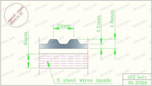 RepRap GT2 Timing belt White PU Steel cords 3D Printer 10mm width Cut to length
