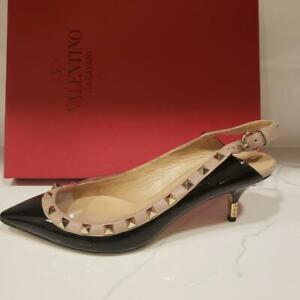 Valentino-Rockstud-Studded-Metal-Heel-Slingback-Sandals-Shoes-Black-39-895