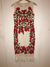 OSCAR DE LA RENTA WIGGLE DRESS - BRIGHT RED POPPY FLOWERS - WHITE LACE FRILL
