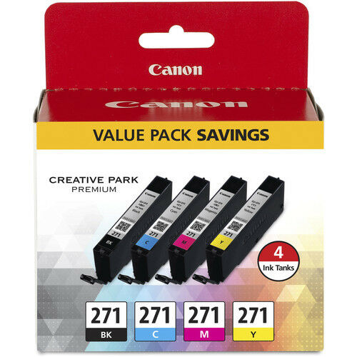 Genuine Canon CLI-271 4 Color Ink Value Pack Canon Authorized Dealer 0390C005