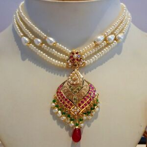 Real Emerald Ruby Necklace Set 22k Yellow Gold Design Traditional