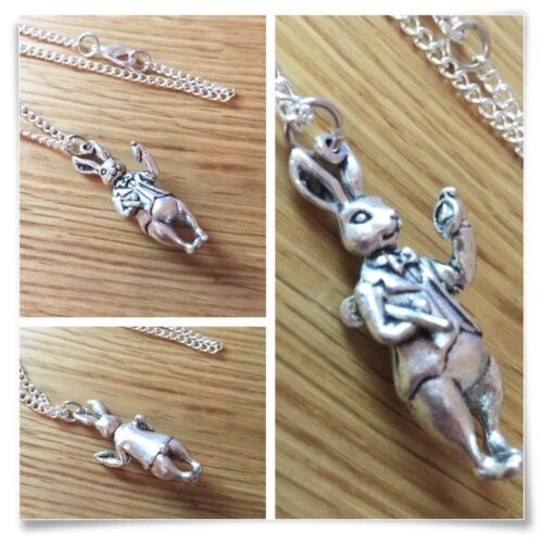 Alice in Wonderland The White Rabbit I/'m Late Charm Necklace