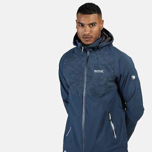 Regatta-Men-039-s-Oklahoma-V-Reflective-Waterproof-Hooded-Walking-Jacket-Blue
