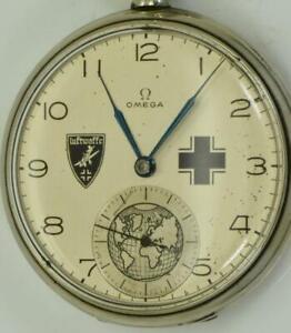 Rare-Ancien-WWII-Militaire-Omega-Pilote-As-Recompense-Poche-Montre-c1936