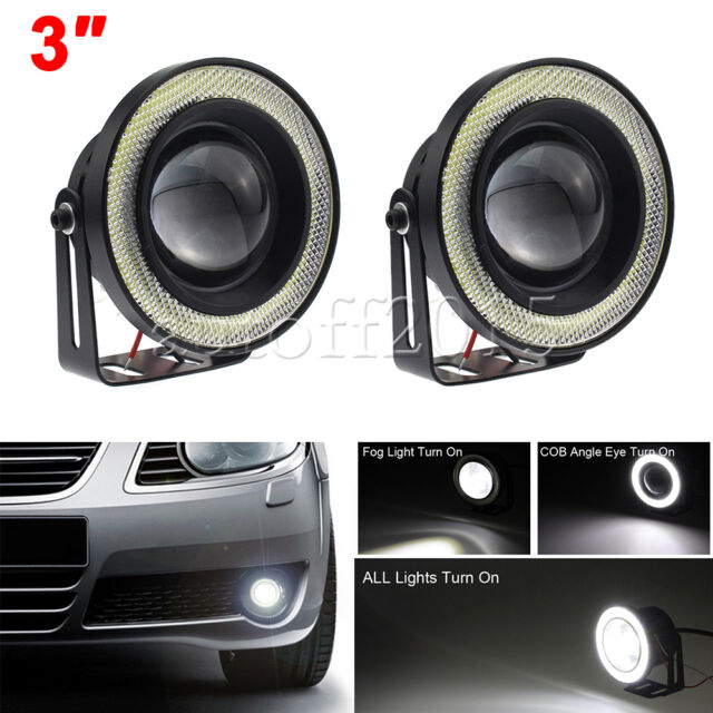 """3"""" Angel Eye Halo Ring Front Bumper Projector Fog Light DRL Driving White Lamp"""
