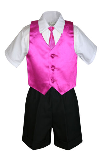 4pc Boy Toddler Formal Fuchsia Pink Vest Necktie White Khaki Navy Shorts sz S-4T