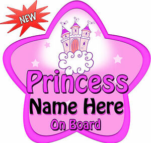 Personalised-Baby-On-Board-Car-Sign-Princess-Pink-Castle-Star-Shaped-New
