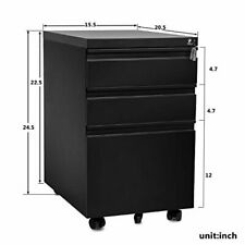 3 Drawer Mobile Metal Lockable File Cabinet With Keys Casters For Office Business