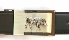 Wild Boar Running Belt Buckle and Leather Belt in Gift Tin Ideal Hunting Present