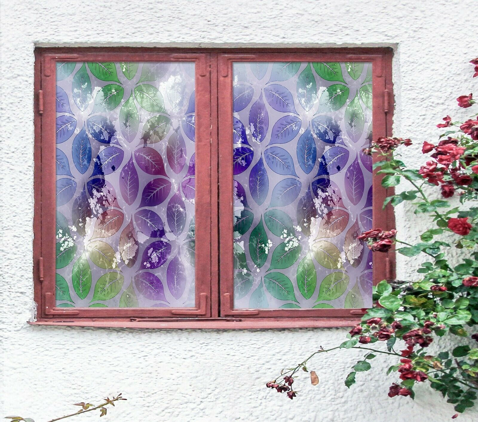3D lila Leaves R210 Window Film Print Sticker Cling Stained Glass UV Su