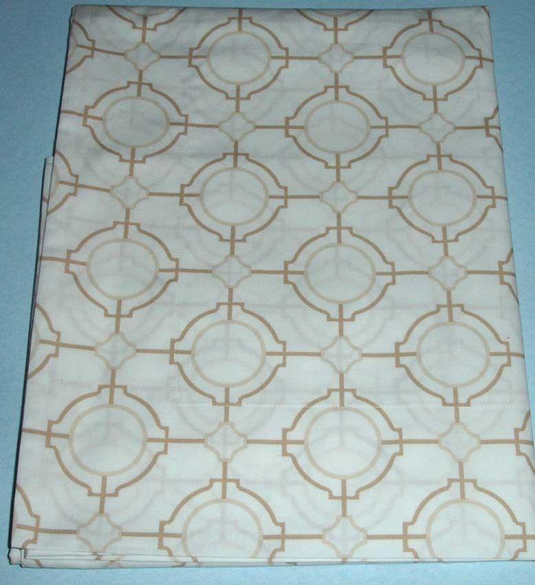 Sferra CONNERY Boudoir Sham SET 2 White Camel Cotton Percale Print New