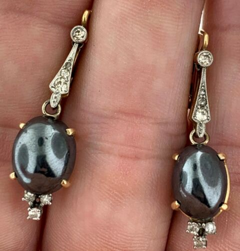 Antique Dangle Drop Lever Earrings Hematite & 14 D