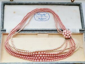 """Vintage HOLLYWOOD 18"""" Pink Faux PEARL Multi Strand Side Necklace Choker Boxed"""