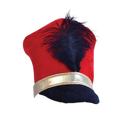 Adulti Rosso Nero E Oro Giocattolo Soldato Majorette Cappello Little Drummer Boy Costume-