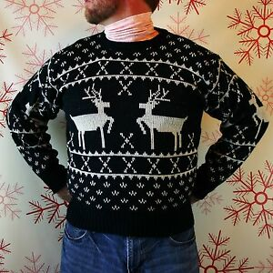 SWEET VTG 80s REINDEER NORDIC SWEATER Ugly Christmas Party ...