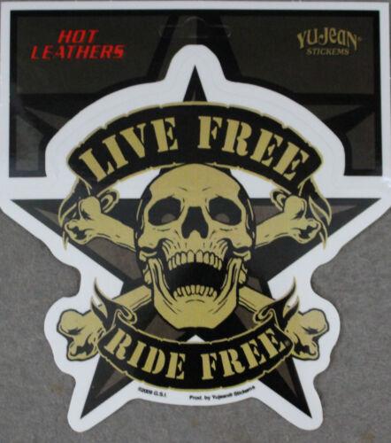 Live Free Skull Star Biker Hot Leathers Sticker Decal Tank Window Auto Sticker