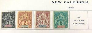 NEW-CALEDONIA-1892-4-MH-1c-2c-4c-5c-NICE-GRADE-STAMPS