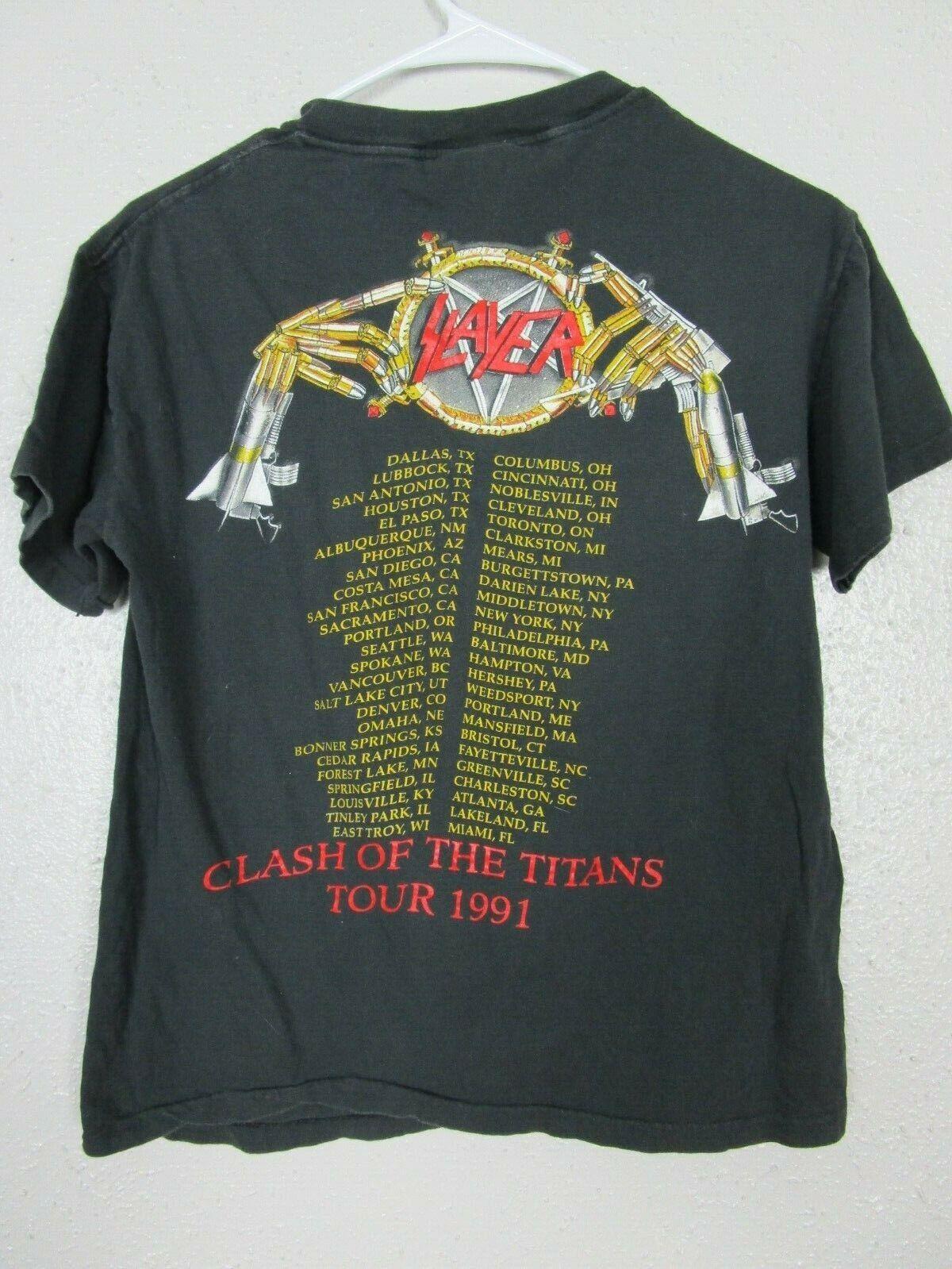 Vintage 1991 SLAYER CLASH OF THE TITANS T-SHIRT R… - image 7
