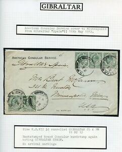 GIBRALTAR-1912-American-Consular-Service-cover-to-USA-from-039-Gibraltar-Spain-039