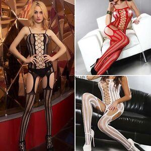 ecffb3d4f Image is loading UK-Lady-Sexy-Lingerie-Nightwear-Underwear-Fishnet-Open-