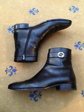 Gucci Mens Shoes Black Leather Chelsea Dealer Boots UK 8 US 9 42 Interlocking GG