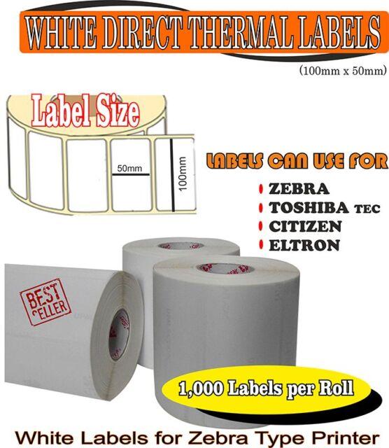 Blanco 50 X 25mm etiquetas Térmica Directa 2,000 en 25mm Core-Zebra Impresora Citizen