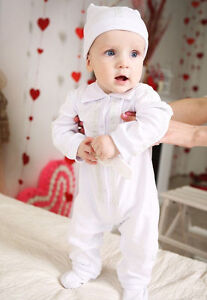 15f51c561141 Image is loading Baby-Boy-Christening-Outfit-Baptism-Romper-Cotton-White-