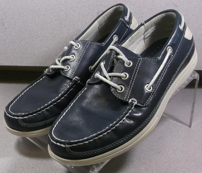 5933146 MS38 Men's shoes Size 10 M Navy Leather Boat shoes Johnston & Murphy
