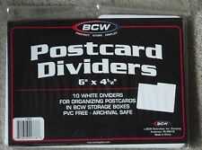 """Pack of 10 White BCW Postcard Box Dividers 6"""" x 4 1/2""""  Indexing Storage"""