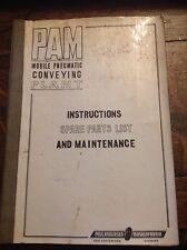Planta de transporte neumática móvil PAM instrucciones lista de piezas de repuesto y mantenimiento